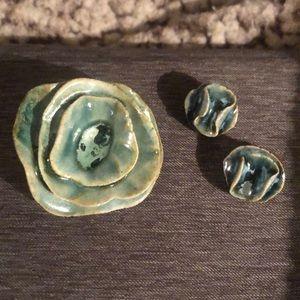 Handmade brooch and earrings